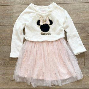 Disney Minnie Mouse Girls Ivory Fleece and Pink Sparkle Tulle Dress Sz 6X
